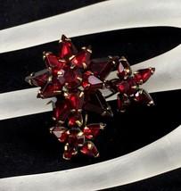Vintage Adele Simpson Pin Brooch Signed Dark Red Rhinestone Flower Jewel... - $197.99