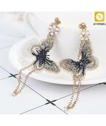 Dangle Earrings Women Pearl Embroidery Butterfly Crystal Long Tassel Dro... - $6.69