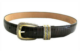 Brighton Brown Crocodile Leather Belt with 2 Tone Buckle size M / 30 - $17.82