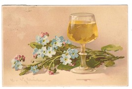Beim Glase Wein Forget Me Nots Glass of Wine Meissner and Buch Art Postcard 1910 - $4.99