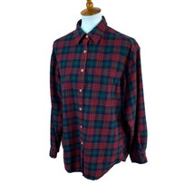 Eddie Bauer Women's Long Sleeve Flannel Red Navy Blue Plaid Top Medium - $19.78