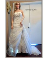 ALFRED SUNG Designer Ivory Beaded Exquisite Wedding Bridal Dress Sz 10 - $445.49
