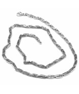 White gold chain 18k oval, jersey and alternating tubes, 4 mm thick, 60 cm - $2,221.27