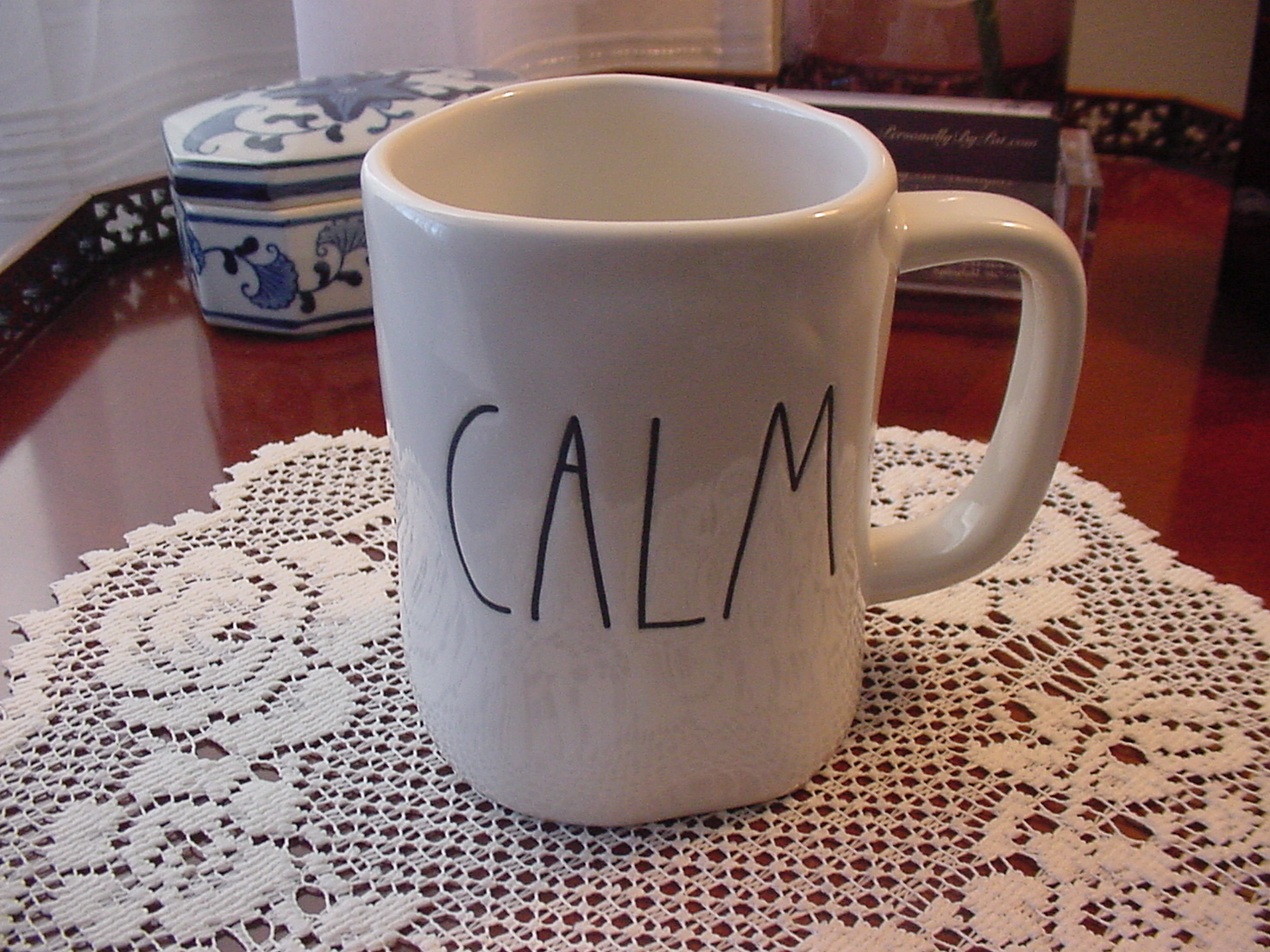 Rae Dunn  CALM Rustic Mug, Ivory with Black Letters, New!