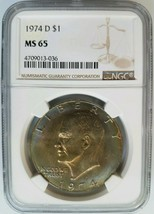 1974 D Eisenhower IKE NGC MS 65 Monster Toner Dollar Two Sided Toning To... - £88.11 GBP
