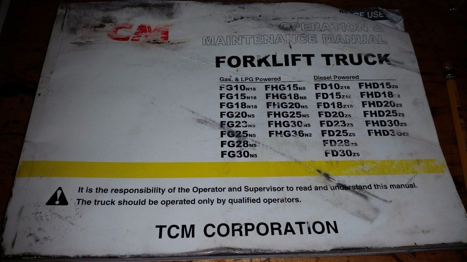 ONE TCM FORK LIFT TRUCK OPERATION & MAINTENANCE MANUAL FG FHG FD FHD 10-36