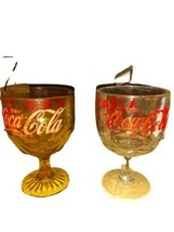 Set of 2 Vintage Coca Cola Red Letter Thumbprint Goblets Clear & Amber LOOK - $19.79