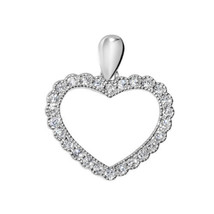 14k White Gold Cubic Zirconia Fancy Open Heart Pendant - $75.00