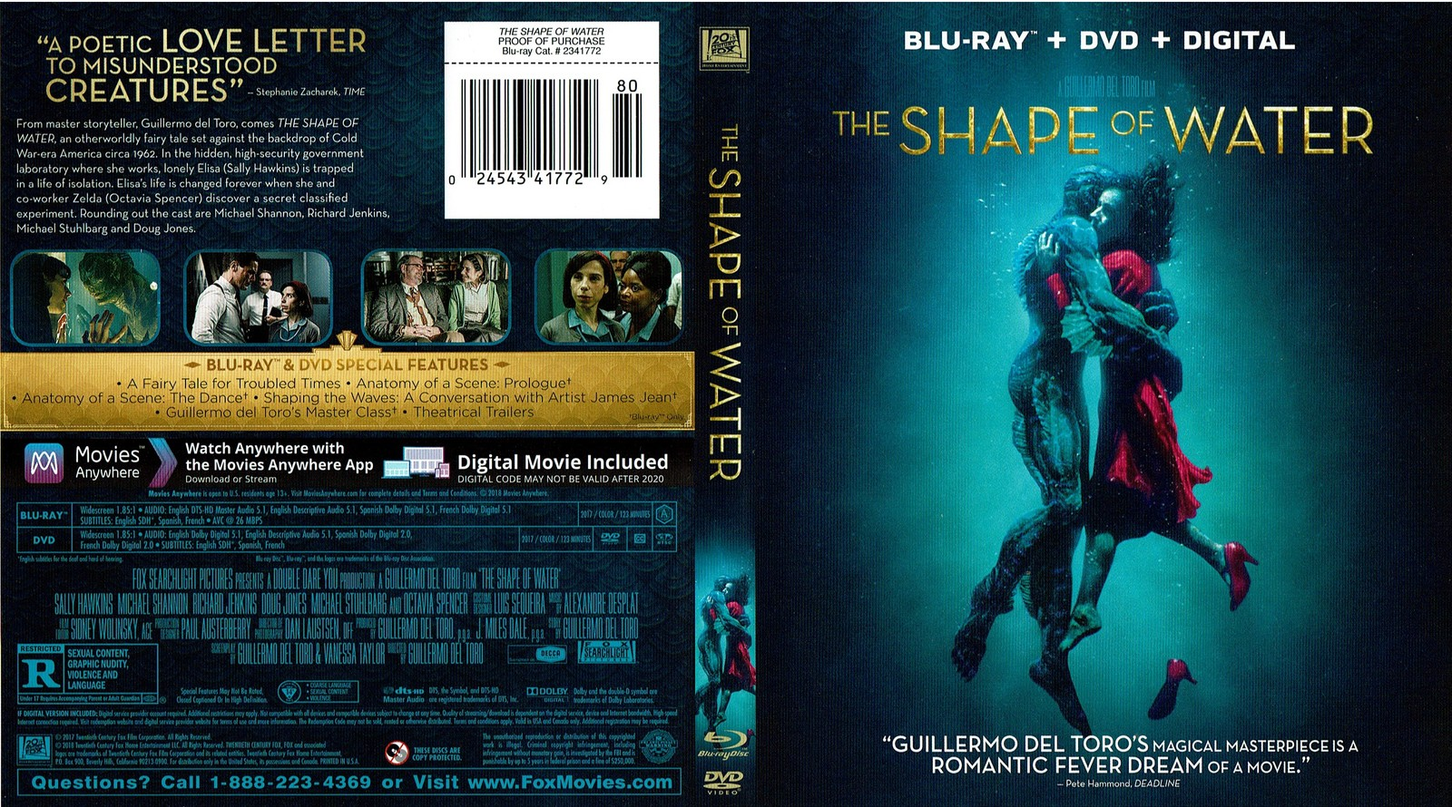 The Shape Of Water, DVD, Bluray, 2018, Widescreen