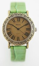 Relic Watch Mens Lime Green Leather Stainless Steel Gold Water Resistant... - £20.39 GBP