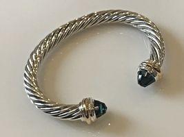 David Yurman Sterling Silver & 18k Gold HAMPTON BLUE 7mm Cable Classic Bracelet - $449.99