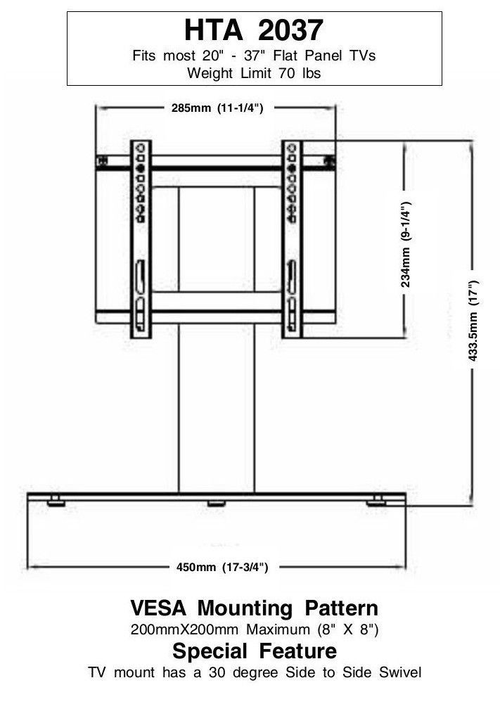 New Replacement Swivel TV Stand/Base for Sharp LC-26AD22U