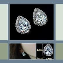 Platium Plated Sparkling Austrian Crystal and Rhinestone Water Drop Stud Earring image 3