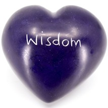 "Vaneal Group Hand Carved Soapstone 2-Sided Purple ""Wisdom"" Heart Paperweight"