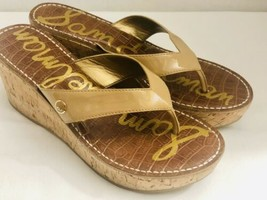 Sam Edleman Romy Tan Patent Leather Thong Cork Platform Sandals Womens S... - $23.10