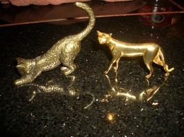 Cat Figurines from The Franklin Mint 1986 TFM Brass Cat ring holder + sleek cat - $29.70