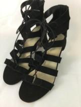 Marc Fisher Black Suede Paradox 11W Strappy Back Zip Block Heel Sandal - $26.18