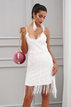 Sequin fringe tassel sexy party dress V neck slim bodycon summer dress - $49.99