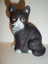Fenton Glass Black & White Tuxedo Sitting Cat M Kibbe GSE Ltd Ed #15/39 - $174.12