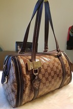 Gucci Guccissima Duchessa Boston Signature Bag Coated Canvas Brown Leath... - $392.70