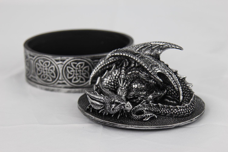Medieval Fantasy Mythical Dragon Lidded Treasure Trinket Box