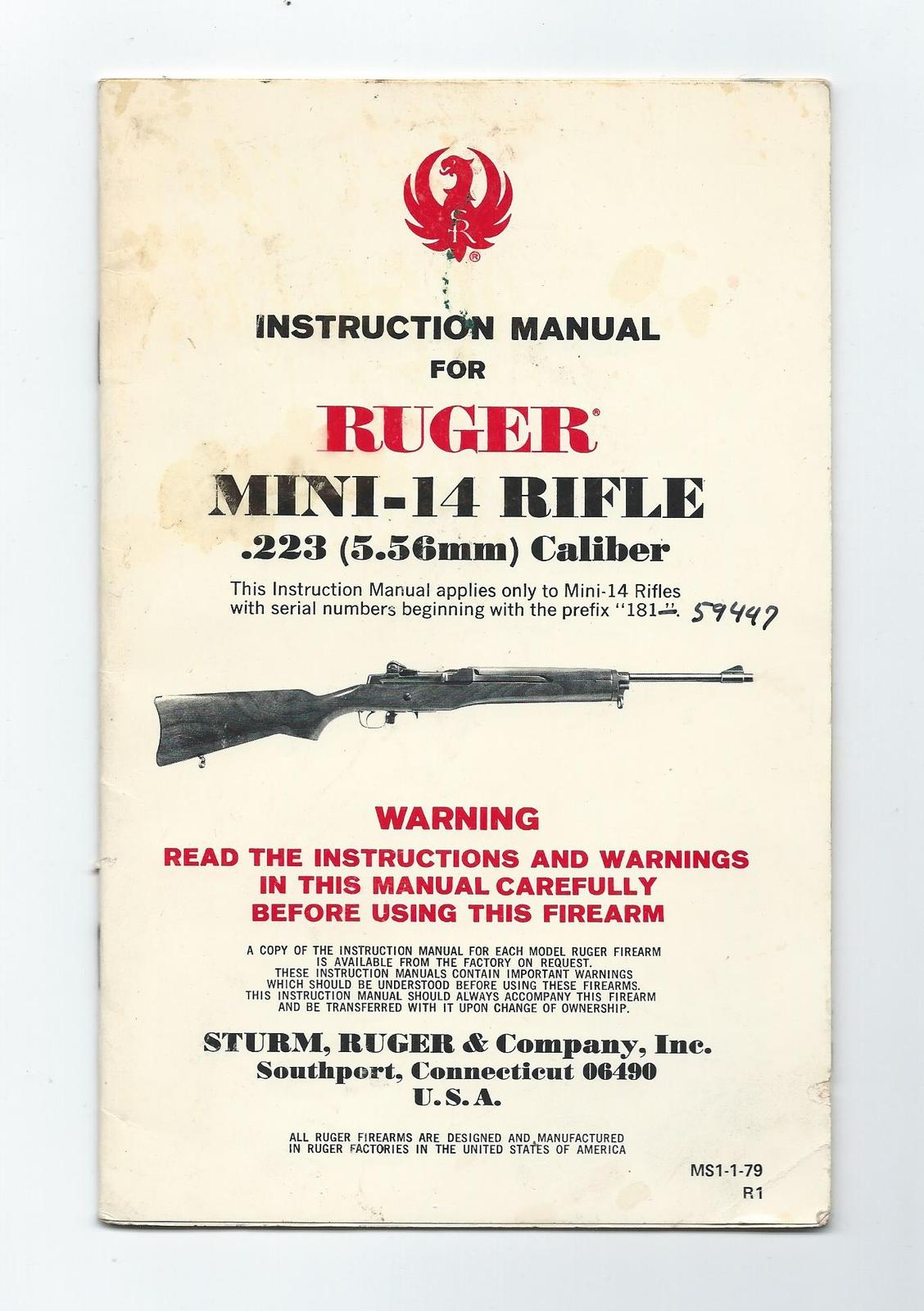 Instruction Manual for Ruger Mini-14 Rifle. .223. 5.56mm Caliber.Paperback  -1979