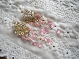 Fashion Earrings Pink Faceted Glass Beads & Pink Rhinestones Gold Tone Filigree image 3