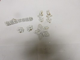 Costume Jewelry , Vintage , Monet White Bracelet , Pin , Earrings , 4 Items - $34.65