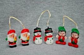 Christmas Hanging Candles 1.5 Inches Tall Santa Snowman Elf Set Of 3 - $20.00