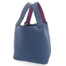 HERMES Picotin Lock PM Clemence Swift Deep Blue Anemone Handbag #D Authe... - $4,327.50