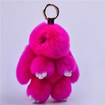 Fur bunny keychain Pendant Rex Rabbit's Hair Bag Automobile Key holder r... - $23.30