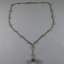 .925 SILVER RHODIUM NECKLACE WITH GREEN CRISTALS AND SILVER SPHERE image 2