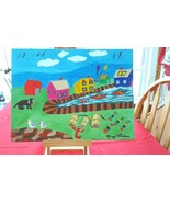 Folk Art Painting of a lobster fishing village on the seacoast in the M... - $26.00