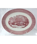 Currier & Ives Oval Platter Pink Red White Royal China Old Inn Winter Sc... - $29.95