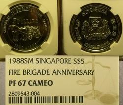 Singapur 1988 Feuerwehr NGC PF-67 Cameo 100th Anniv ~ Pop 1 ~Selten~ Gratis - $176.65
