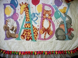 "COMPLETED & QUILTED Sunset Xstitch Baby Quilt  ""SNUGGLE"" animals & ballo... - $149.99"