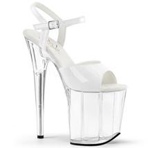 "PLEASER Sexy 8"" High Heels Platform Ankle Strap Stripper Dancer White Shoes - $57.95"
