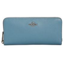Coach Smooth Leather Accordion Zip Around Wallet, Chambray/ Gunmetal $140 - $121.49
