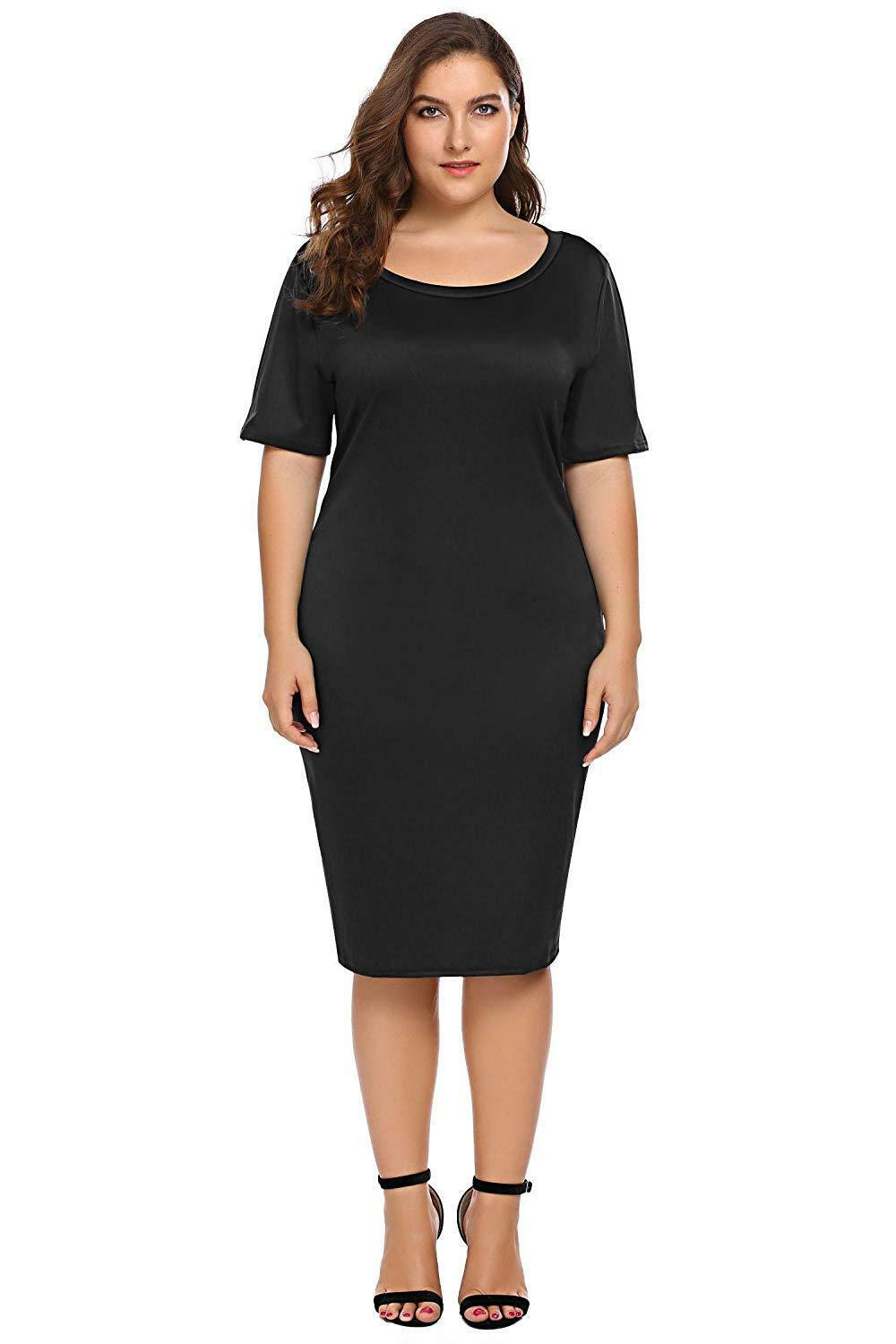 Zeagoo Women Plus Size Loose Fit Short Sleeve O-Neck Casual Midi Dress image 9