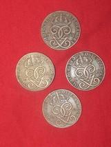 WHOLESALE LOT 4- 20MM 2 ORE SWEDEN SWEDISH CROWN COIN VINTAGE ANTIQUE COINS - $8.90