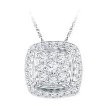10kt White Gold Womens Round Diamond Square Cluster Fashion Pendant 1-2 ... - $520.54