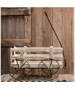 2/White Old style wagon Rusty wheels yard Landscape Driveway Floral Holiday - $188.09