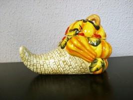 Ceramic Cornucopia with Lid Candy/Treat Jar - $8.00