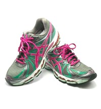 ASICS Gel Nimbus 15 in Titanium with Hot Pink & Mint SIZE 8.5M - Pre Owned  - $32.95