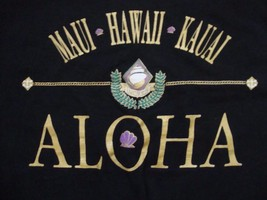 Vintage Maui Hawaii Kauai Aloha Hawaiian Isles Souvenir Black T Shirt Si... - $15.53