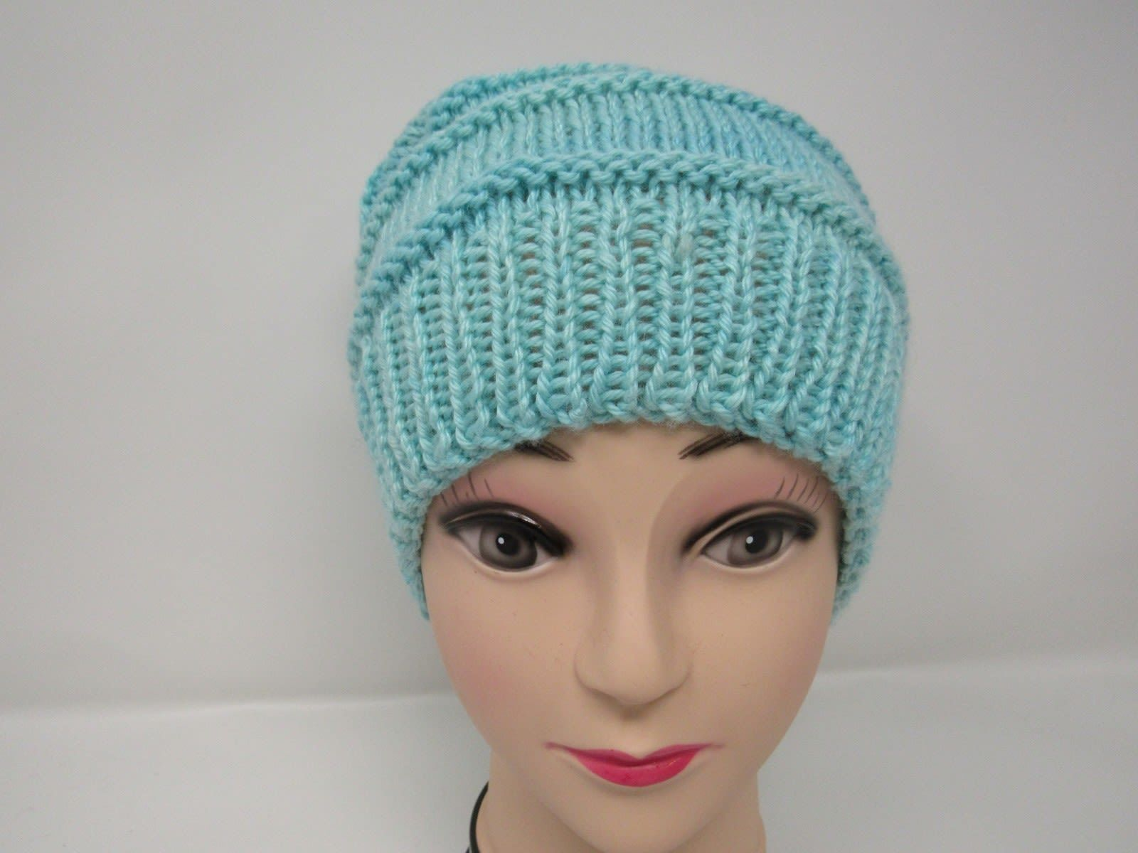 Handcrafted Knitted Hat Beanie Light Teal Textured Merino Cashmere Female Adult