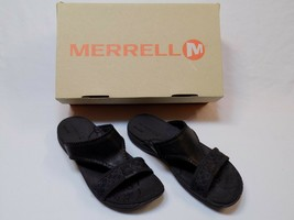 7 M Merrell Sweet Pea Sandal Slip On Qform Black Leather Walking Shoes L... - $44.99