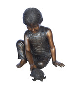 "Boy Push Turtle Bronze Statue Fountain  -  Size: 18""L x 20""W x 19""H. - $1,209.00"