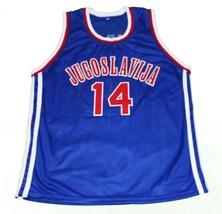 Dino Radja #14 Jugoslavija Yugoslavia Basketball Jersey New Sewn Blue Any Size image 1