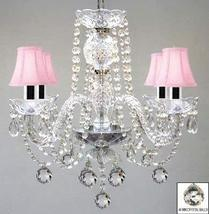 Murano Venetian Style All Crystal Chandelier W/Crystal Balls and Pink Shades W/C - $130.33